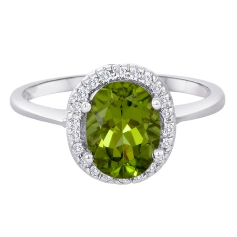 2.00 CT. Oval Peridot and Diamond Ring in 14K White Gold