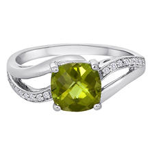 1.60 CT. Cushion-cut Peridot and Diamond Accent Ring in 14K White Gold.