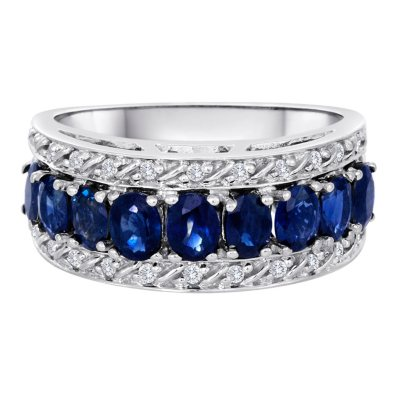 180 CT TW Sapphire and Diamond Ring in 14K White Gold Sams Club