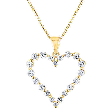 0.46 CT. T.W. Diamond Heart Pendant in 14K Yellow Gold (H-I, I1)
