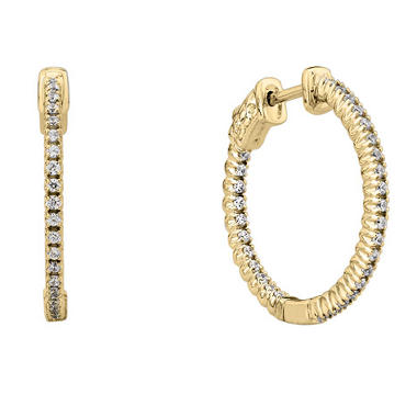 0.23 CT. T.W. Inside-Out Diamond Hoop Earrings in 14K Yellow Gold (H-I, I1)