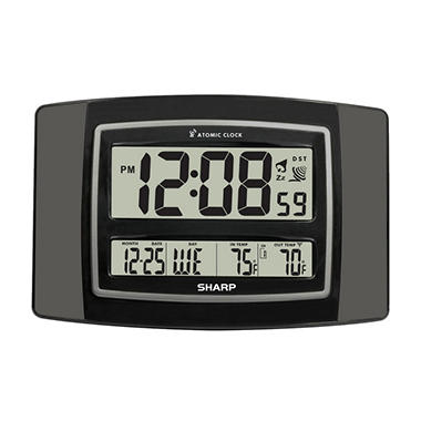 Sharp Digital Atomic Wall Clock - Gun Metal Gray