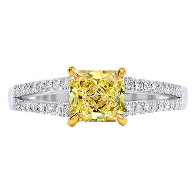 1.33 CT. T.W. Radiant-Cut Fancy Yellow Diamond Split Shank Ring set in Platinum (FY, VS2) GIA