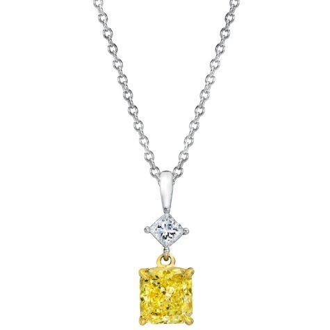 1.65 CT. T.W. Radiant-Cut Fancy Light Yellow Diamond Pendant (FLY, VVS2) GIA