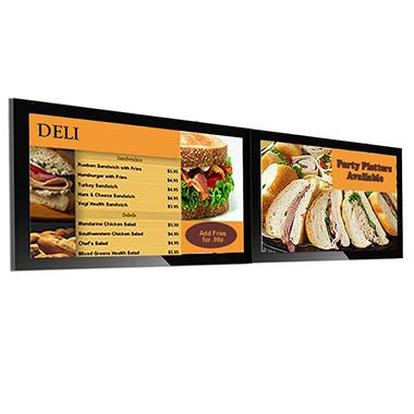 Dual Screen Gallery™ Powered Pro Menu Board Flat Panel Digital Signage Display With Mount, 42