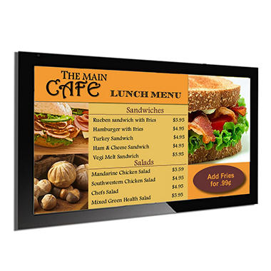 Gallery™ Powered Pro Menu Board Flat Panel Digital Signage Display With Mount, 42