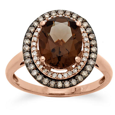 1.98 ct. Smokey Quartz and 0.30 CT. T.W. Diamond Ring in 14K Pink Gold
