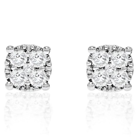 0.95 CT. T.W. Round Stud Earrings in 14k White Gold (HI-I1)