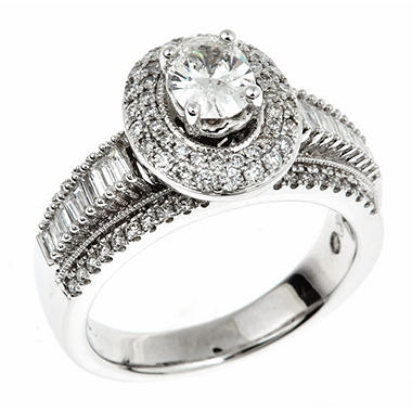 1.45 CT. T.W. Oval-cut Regal Diamond Ring in 14K White Gold (I, SI2)