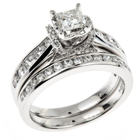 1.45 CT. T.W. Ideal Princess-cut Regal Diamond Ring in 14K White Gold (I, SI2)