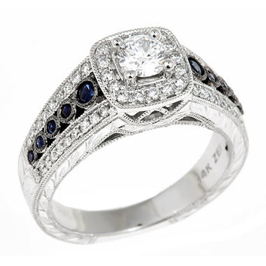 0.70 CT. T.W. Regal  Hearts and Arrows Round-cut Diamond & Sapphire Ring in 14K White Gold (I, SI2)