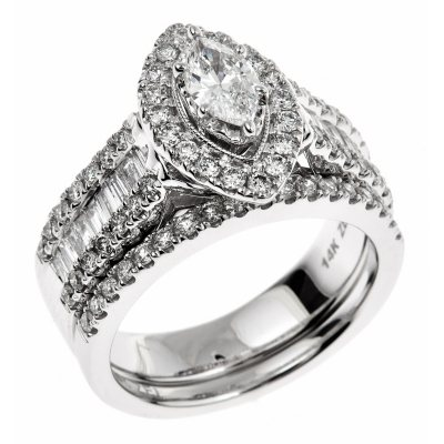 145 CT TW Marquisecut Regal Diamond Ring in 14K White Gold I