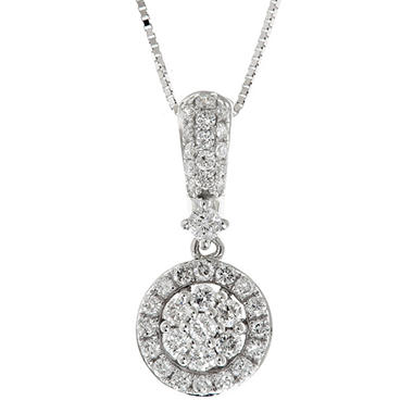 0.38 CT. T.W. Regal Diamond Pendant in 14K White Gold (I, SI2)