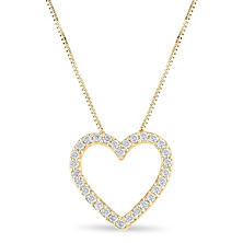 0.23 CT. T.W. Diamond Heart Pendant in 14K Yellow Gold (H-I, I1)