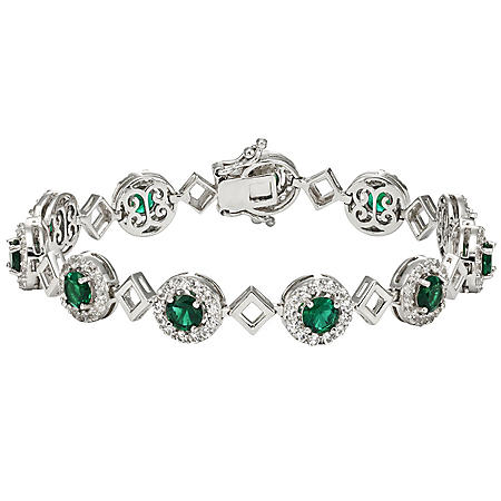 Created Emerald and Created White Sapphire Bracelet in Sterling Silver