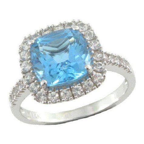 Licensed Blue Topaz & White Sapphire Ring in 14K White Gold