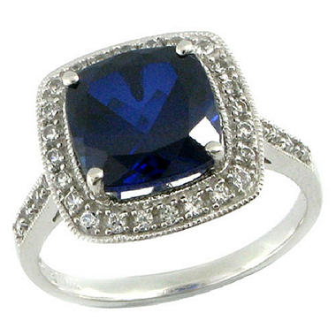 Lab-Created Blue & White Sapphire Ring in 14K White Gold