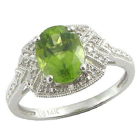 Peridot & Diamond Accent Ring in 14K White Gold