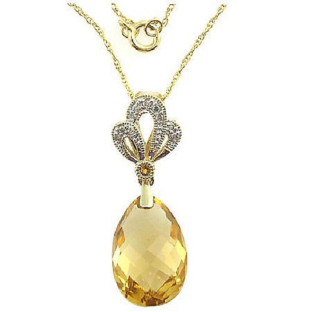 Citrine & Diamond Accent Pendant in 14K Yellow Gold