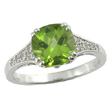 Peridot & White Sapphire Ring in 14K White Gold