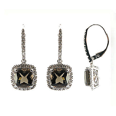 Smoky Quartz & White Sapphire Earrings in 14K White Gold