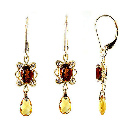 Citrine & White Sapphire Earrings in 14K Yellow Gold