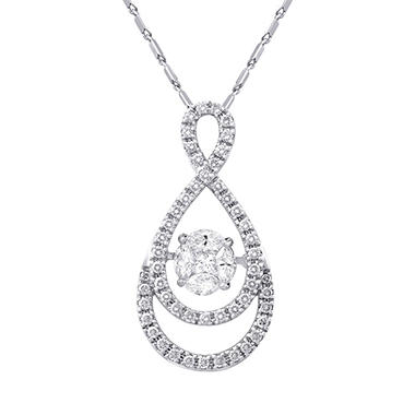 S Collection .75 CT. T.W. Double Diamond Halo Twist Dancing Pendant in 14K White Gold (HI-I1)