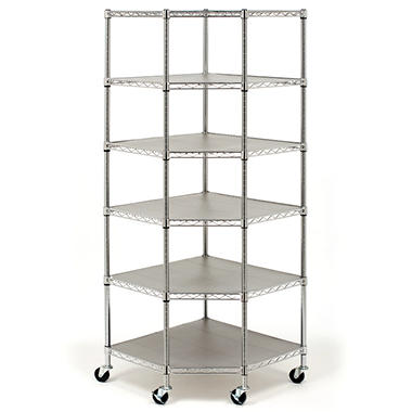 Seville Classics NSF-Certified Heavy-Duty Steel 6-Level Corner Shelf