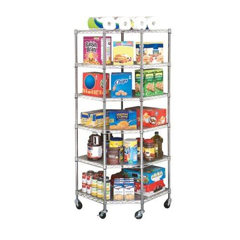 Seville Classics NSF-Certified Heavy-Duty Steel 6-Level Corner Shelf