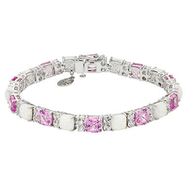 Lab Created Opal Bracelet with Pink and White Sapphires