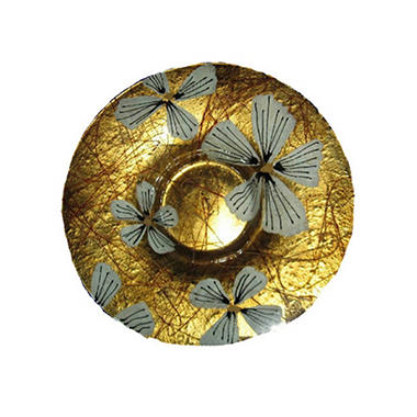 Handcrafted Glass Gold Bowl with Flower