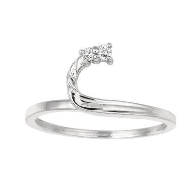 005 ct tw Round Wrap Around Diamond Ring in 14k White Gold I
