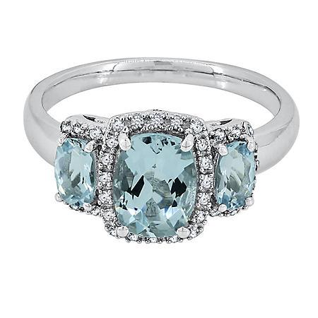 Three Stone Aquamarine Ring with Diamond in 14k White Gold