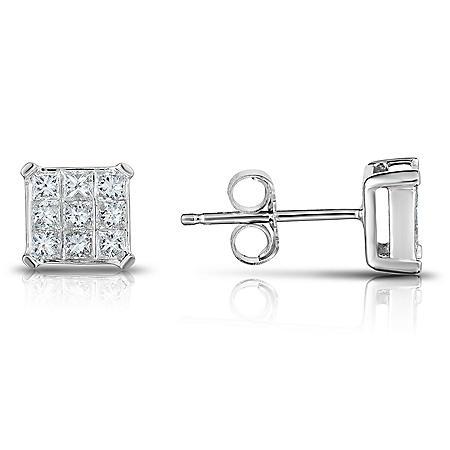 0.45 CT. T.W. Diamond Earring Studs in 14k White Gold
