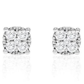 0 50 Ct T W Diamond Stud In 14k White Gold