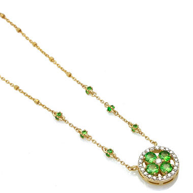 Tsavorite and Diamond Floral design Pendant in 14k Yellow Gold