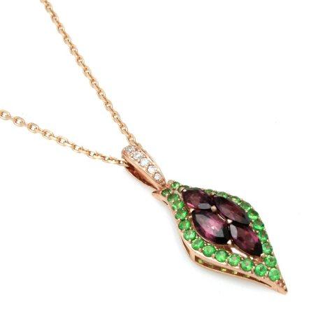 Rhodolite Garnet, Tsavorite and Diamond Accent Pendant in 14k Rose Gold
