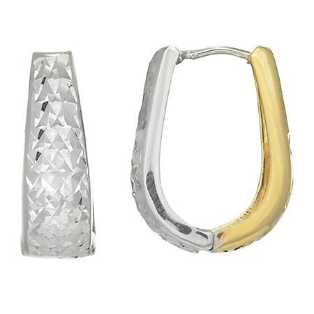 Two-Tone Snuggable Earrings in 14K Gold