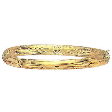 6mm Floral Bangle In 14K Yellow Gold