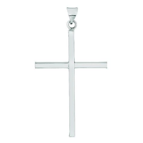 Polished Cross Pendant in 14K White Gold