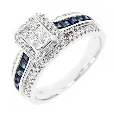 050 CT TW Diamond and Sapphire Princess Ring in 14K White or