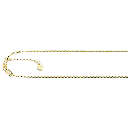 .85mm Adjustable Box Chain In 14K Yellow Gold