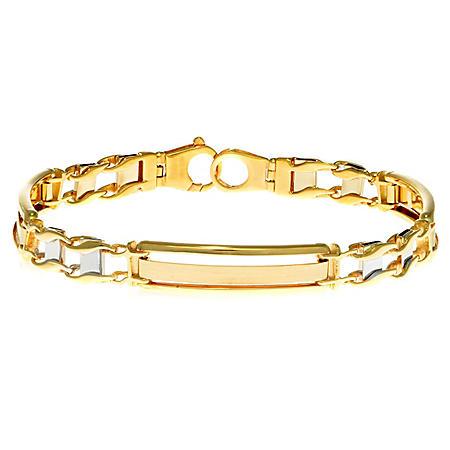 """8.25"""" Two-Tone Men's Bracelet In 14K Gold"""