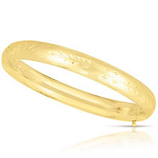 8mm Floral Bangle In 14K Yellow Gold
