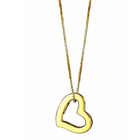 """14K Yellow Gold Hollow Heart Pendant on a 18"""" Box Chain"""