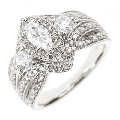 195 CT TW Round Marquise Diamond Ring in 14K White Gold I