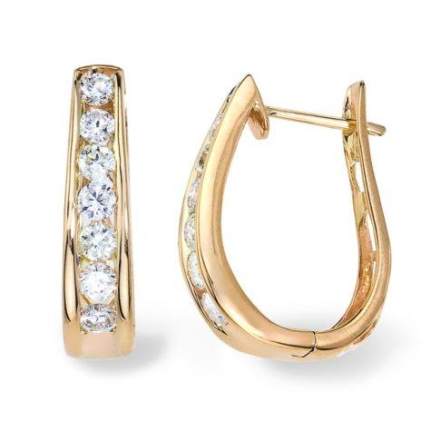 """0.95 CT. T.W. Diamond """"J"""" Hoop Earring in 14K Yellow Gold (I, I1)"""