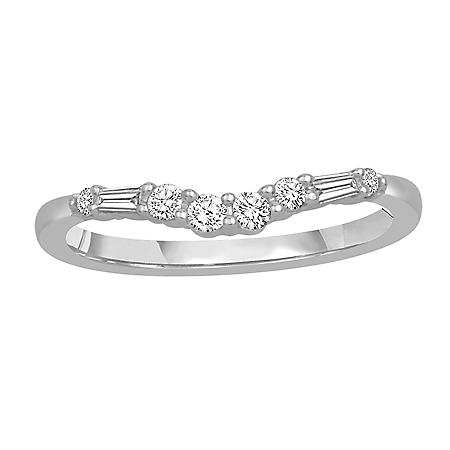 0.25 CT. T.W. 14K Gold Contour Band with Round and Baguette Diamonds (H-I, I1)