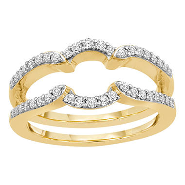 3/8 ct. t.w. 14K Yellow Gold Insert Band with Brilliant Diamonds in Microprong Set (H-I, I1)