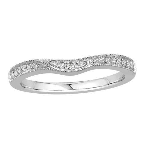 0.15 CT. T.W. Contour Band with Milgrain in 14k Gold (H-I, I1)